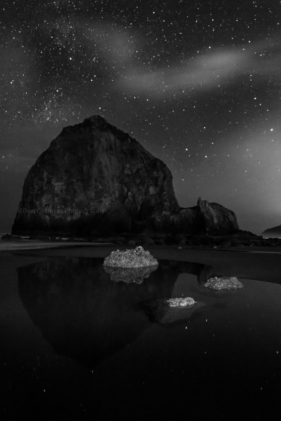 Haystack Rock and stars black and white 1 of 11 Cannon Beach part 2 (now with the Milky Way!)