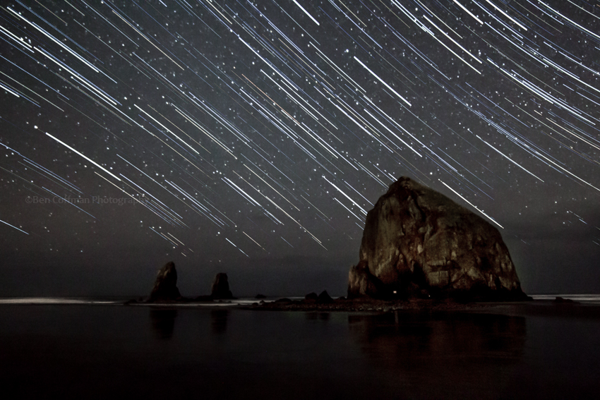 Haystack rock star trails 1 of 11 Cannon Beach part 2 (now with the Milky Way!)
