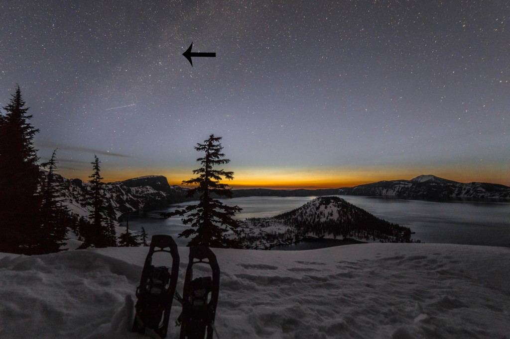 Before dawn with arrow to comet1 1024x682 Before dawns first light at Crater Lake