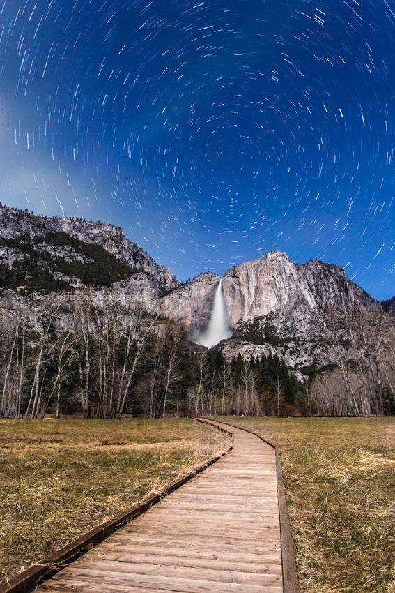 Star trails over Yosemite Falls 1 of 12 Star trails over Yosemite Falls
