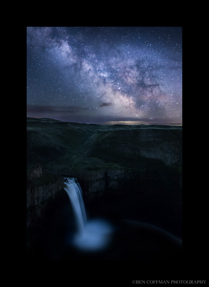 Our dreams of shadow steeds with matte for blog Photographing Palouse Falls at night, a second person essay